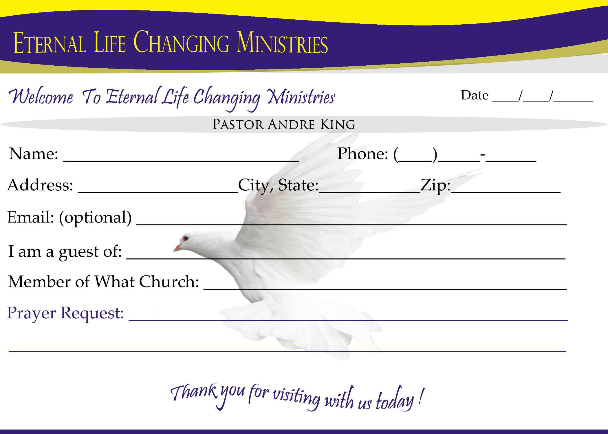 007 Template Ideas Eternal Life Visitor Card Church Within Church Visitor Card Template Word