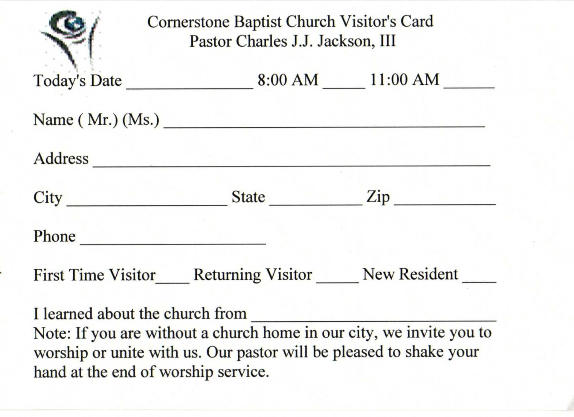 019 Template Ideas Church Visitor Card Word Impressive With Regard To Church Visitor Card Template Word