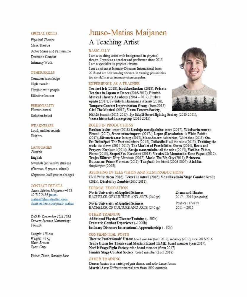 50 Free Acting Resume Templates (Word & Google Docs) ᐅ Inside Theatrical Resume Template Word