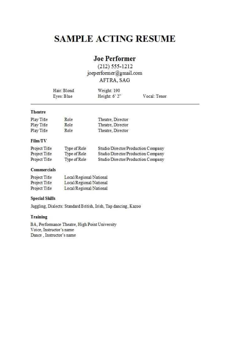 50 Free Acting Resume Templates (Word & Google Docs) ᐅ Within Theatrical Resume Template Word