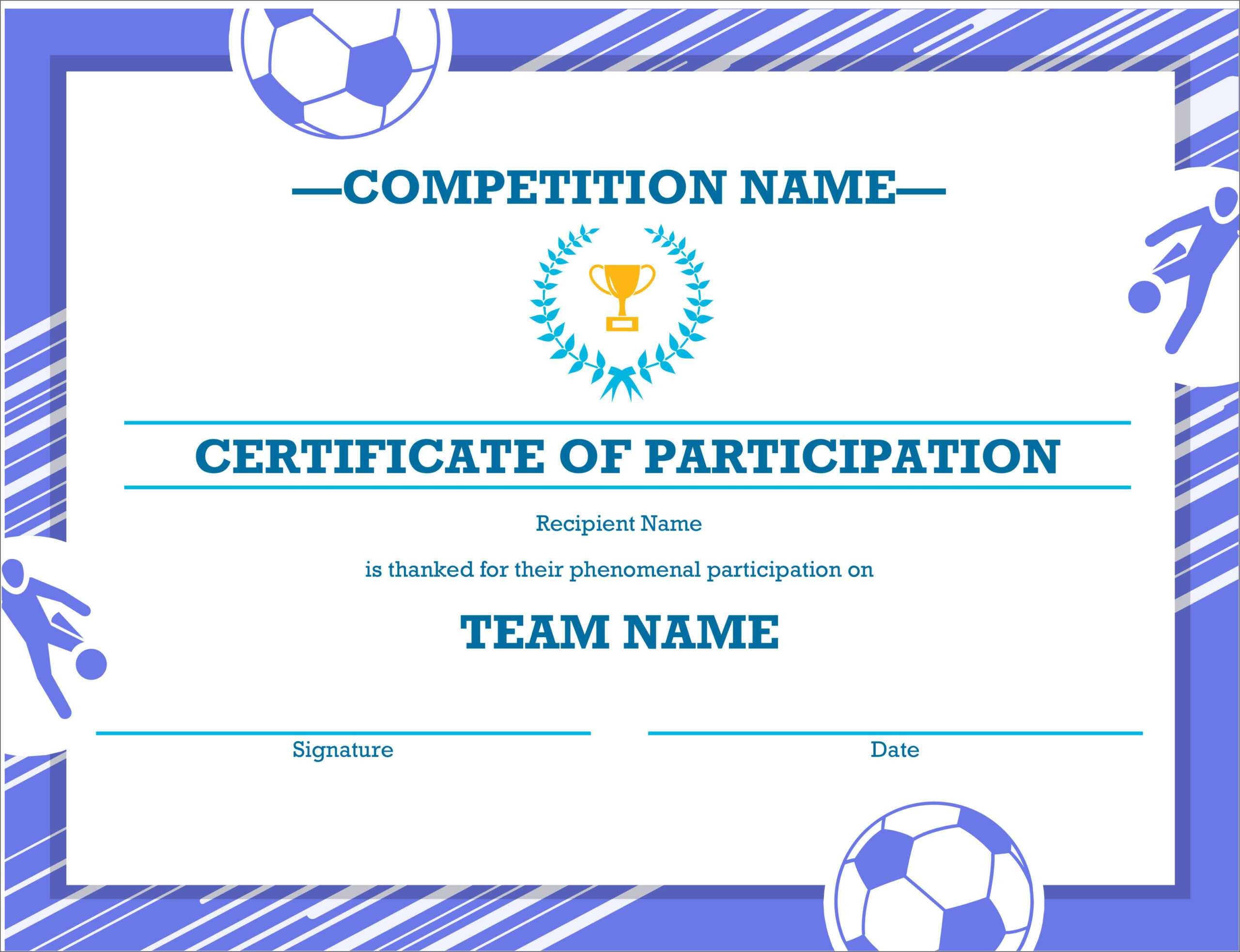 50 Free Creative Blank Certificate Templates In Psd with regard to Soccer Certificate Templates For Word
