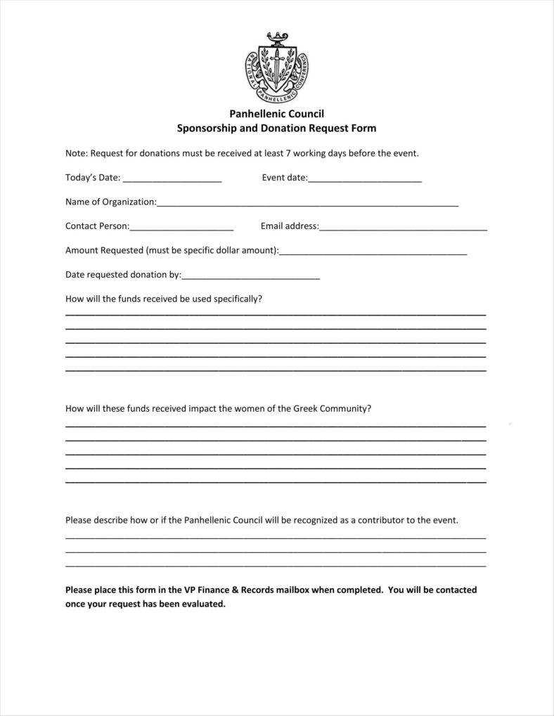 9+ Donation Application Form Templates Free Pdf Format throughout Blank Sponsorship Form Template