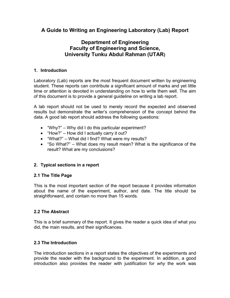 A Guide To Writing An Engineering Laboratory (Lab) Report Pertaining To Engineering Lab Report Template