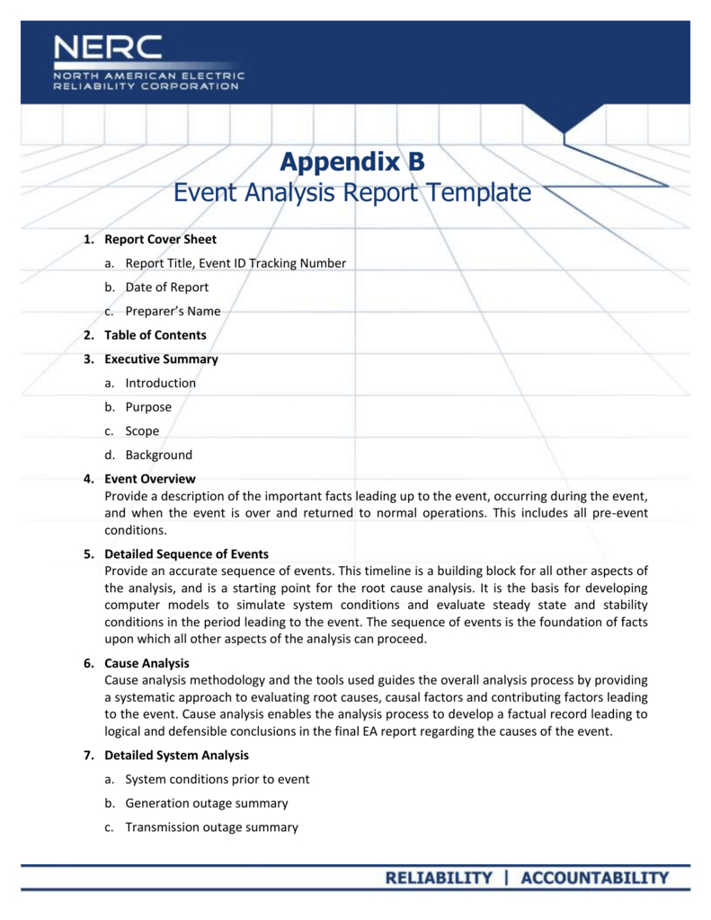 Appendix B - Event Analysis Report Template Within Reliability Report Template