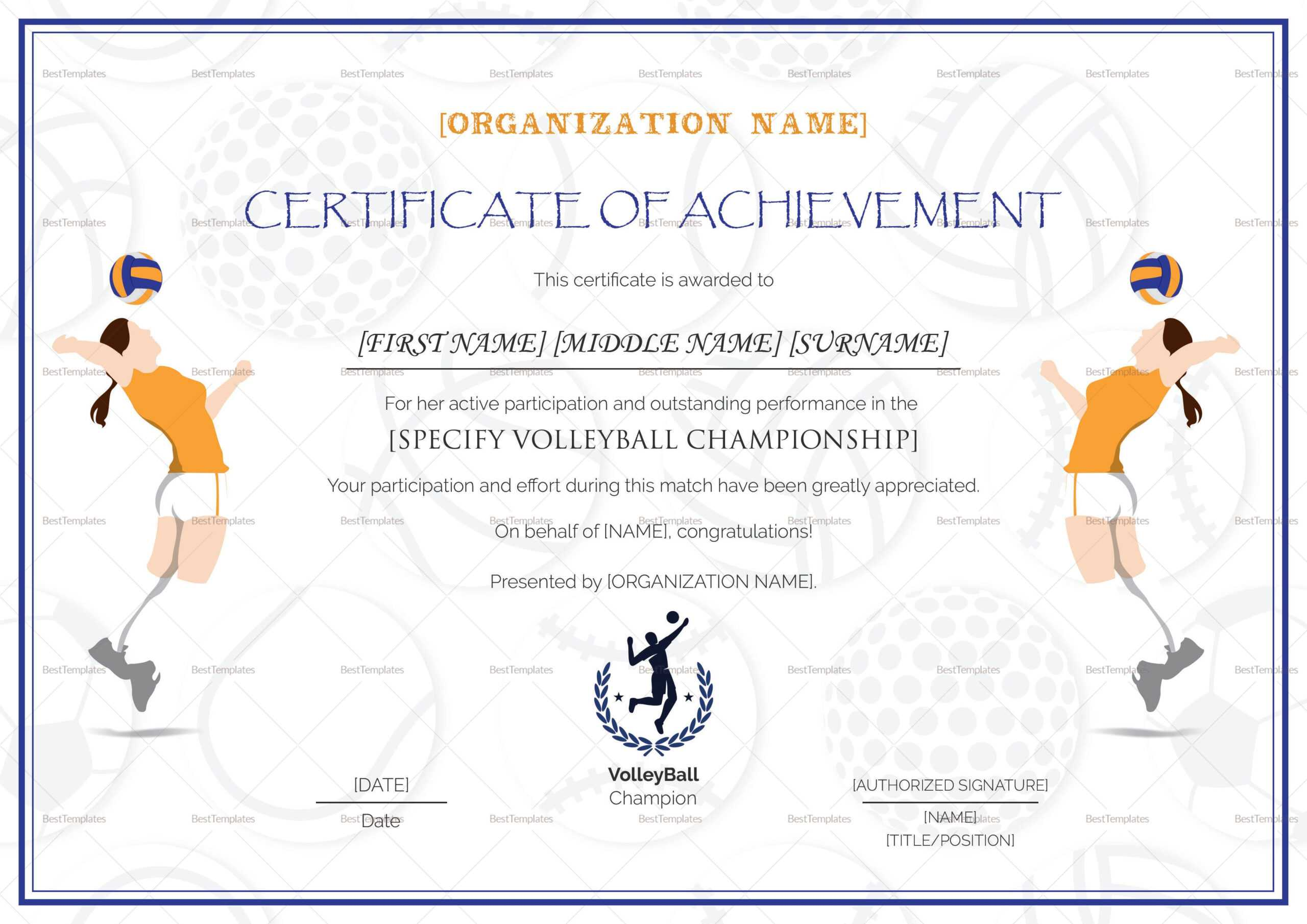 Beautiful Volleyball Certificate Templates – Superkepo Pertaining To Soccer Certificate Templates For Word