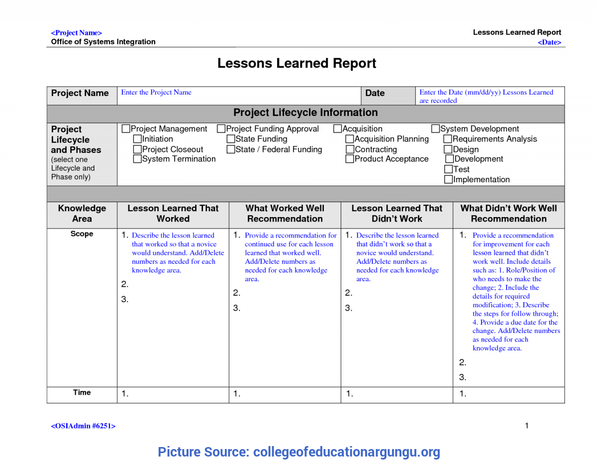Best Project Lessons Learned Categories 23 Lessons Learnt Intended For Lessons Learnt Report Template