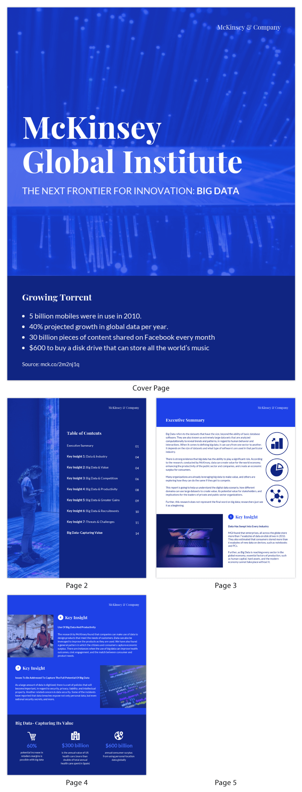 Blue Tech Mckinsey Consulting Report Template With Mckinsey Consulting Report Template