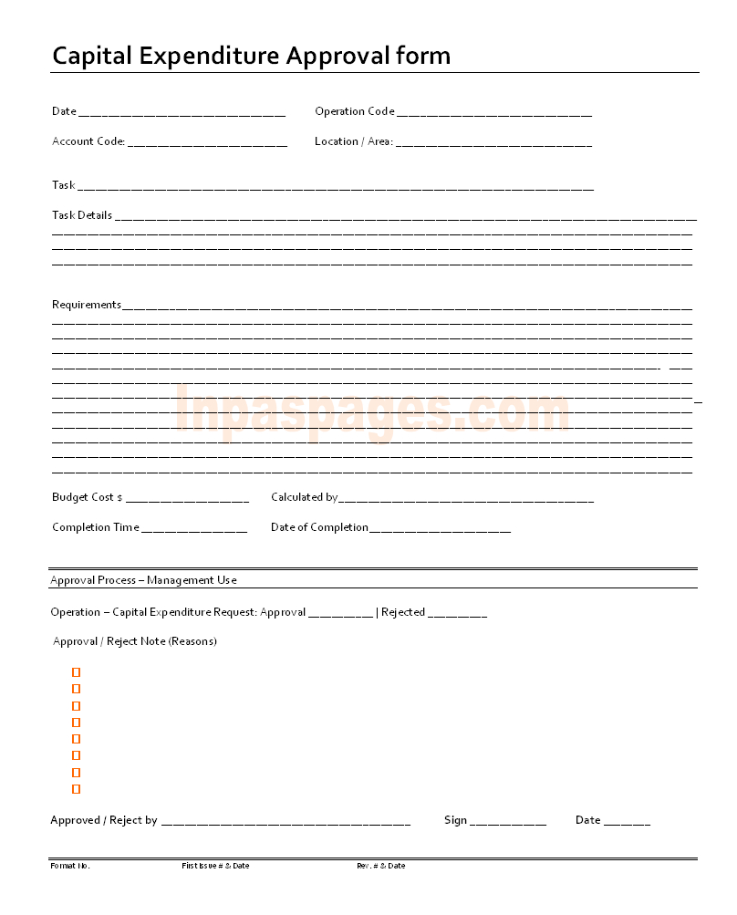 Capital Expenditure Approval Form Format Inside Capital Expenditure Report Template