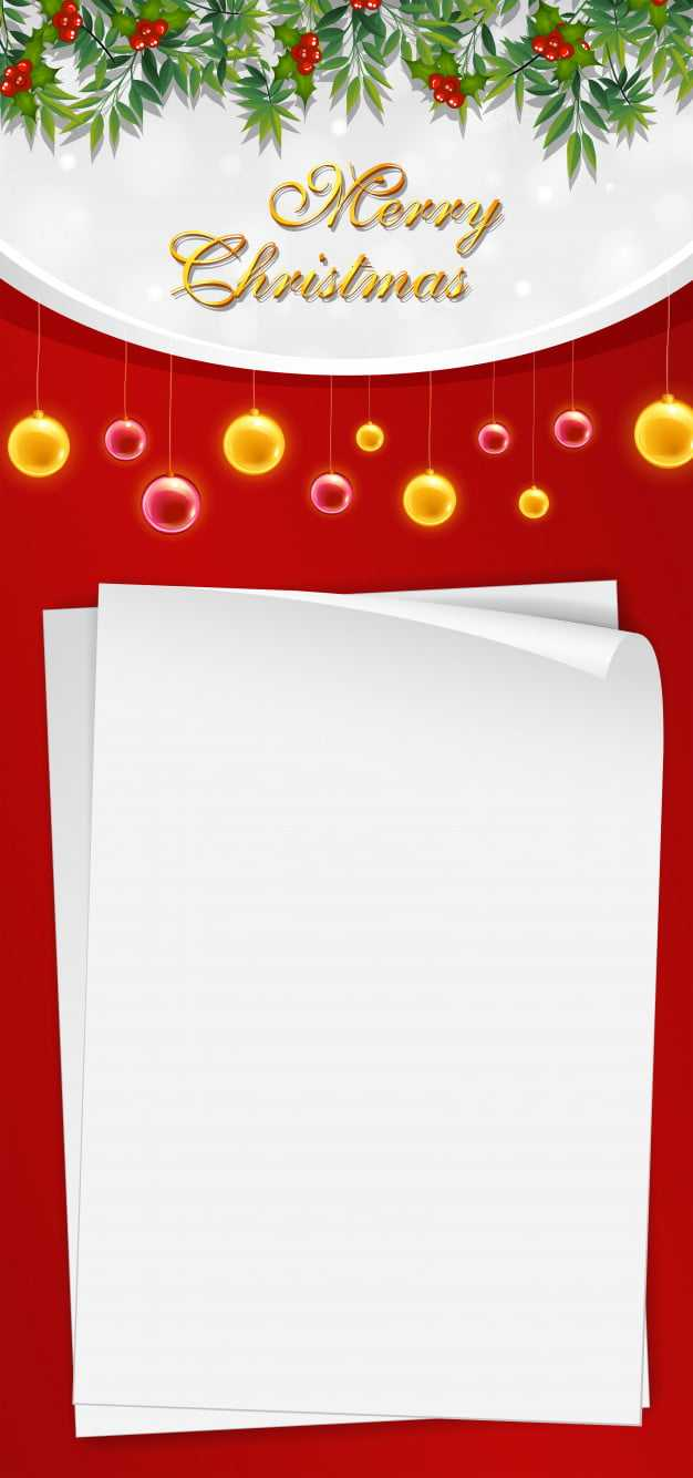 Christmas Card Template With Blank Paper And Mistletoes Eps Throughout Blank Christmas Card Templates Free