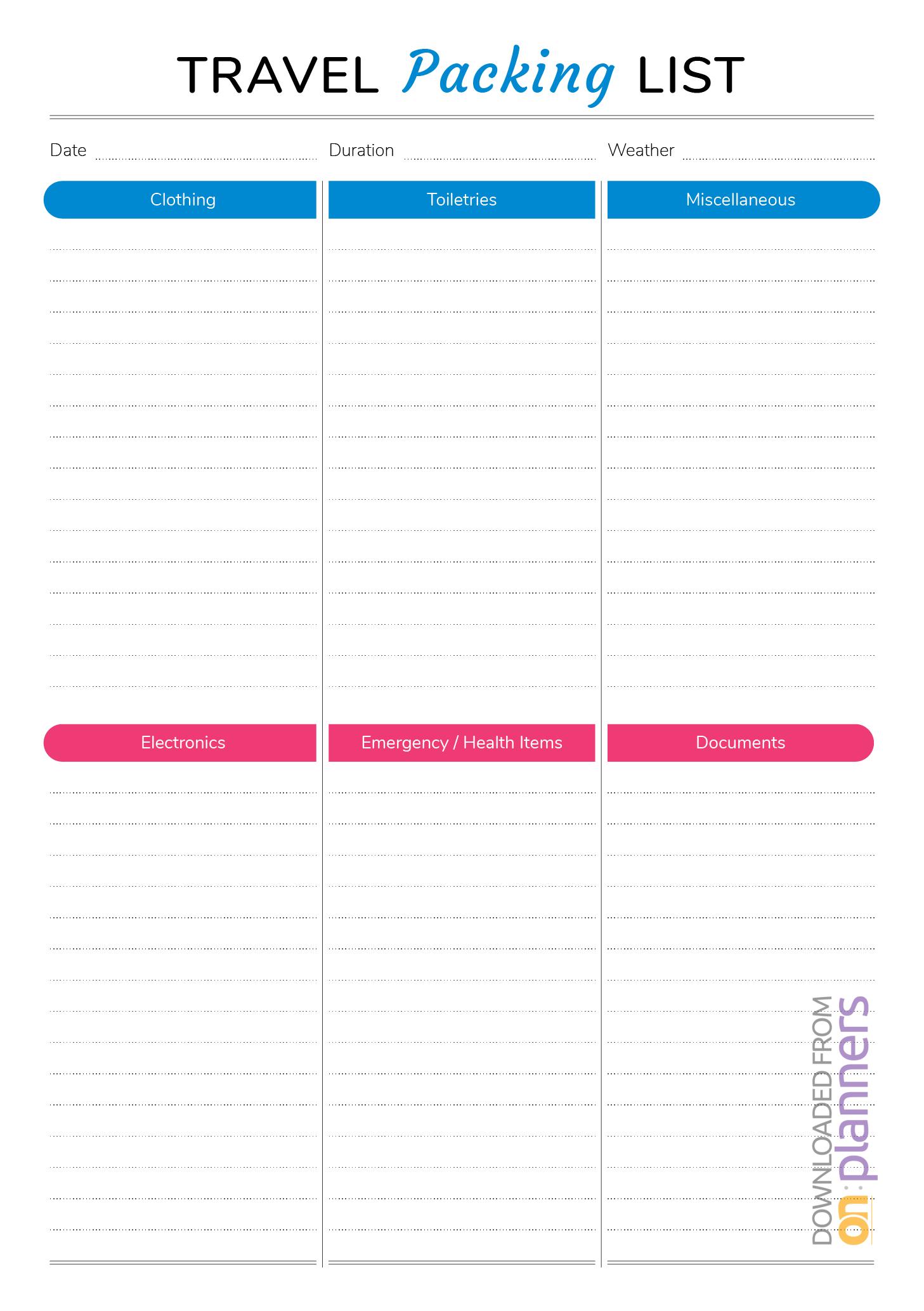 Download Printable Travel Packing List Pdf regarding Blank Packing List Template