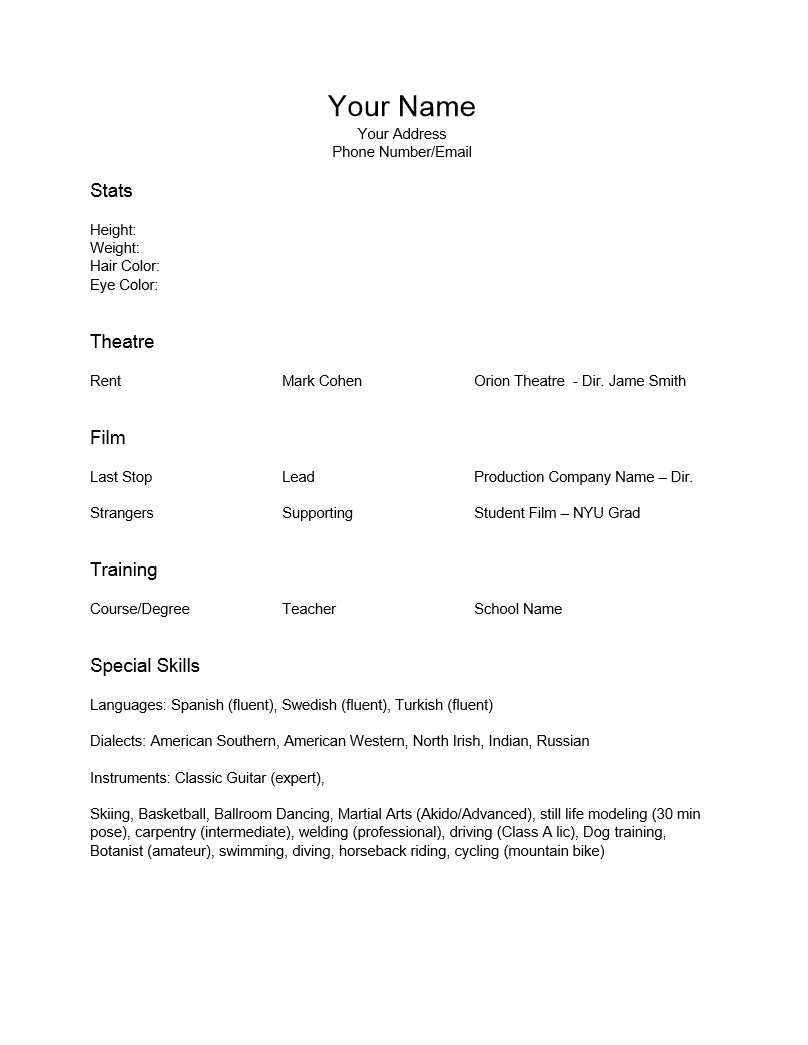 Epub] Resume For Actors Template - 6.6Mb intended for Theatrical Resume Template Word