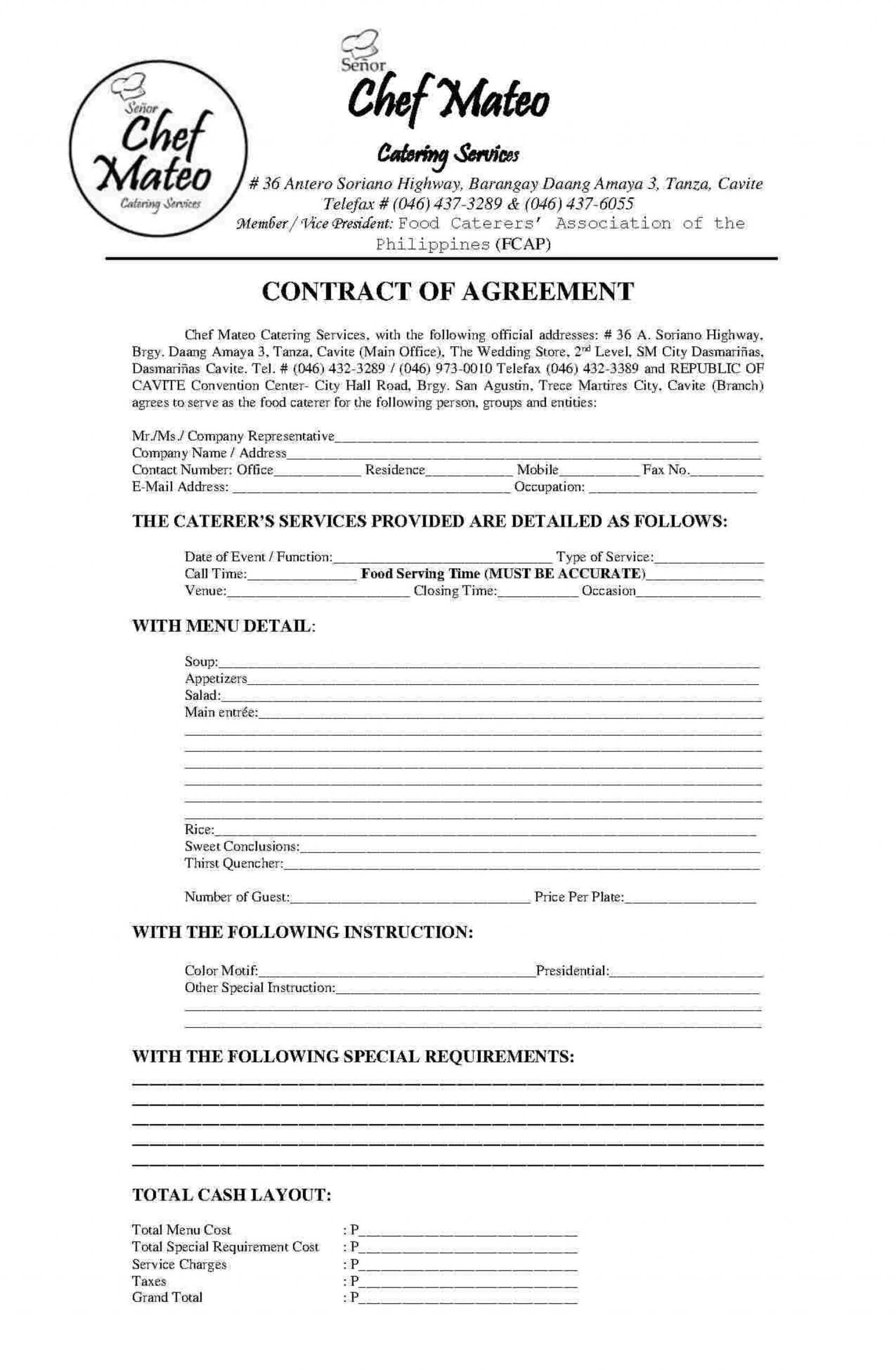 Excellent Catering Contract Template Free Ideas Uk Sample Throughout Catering Contract Template Word