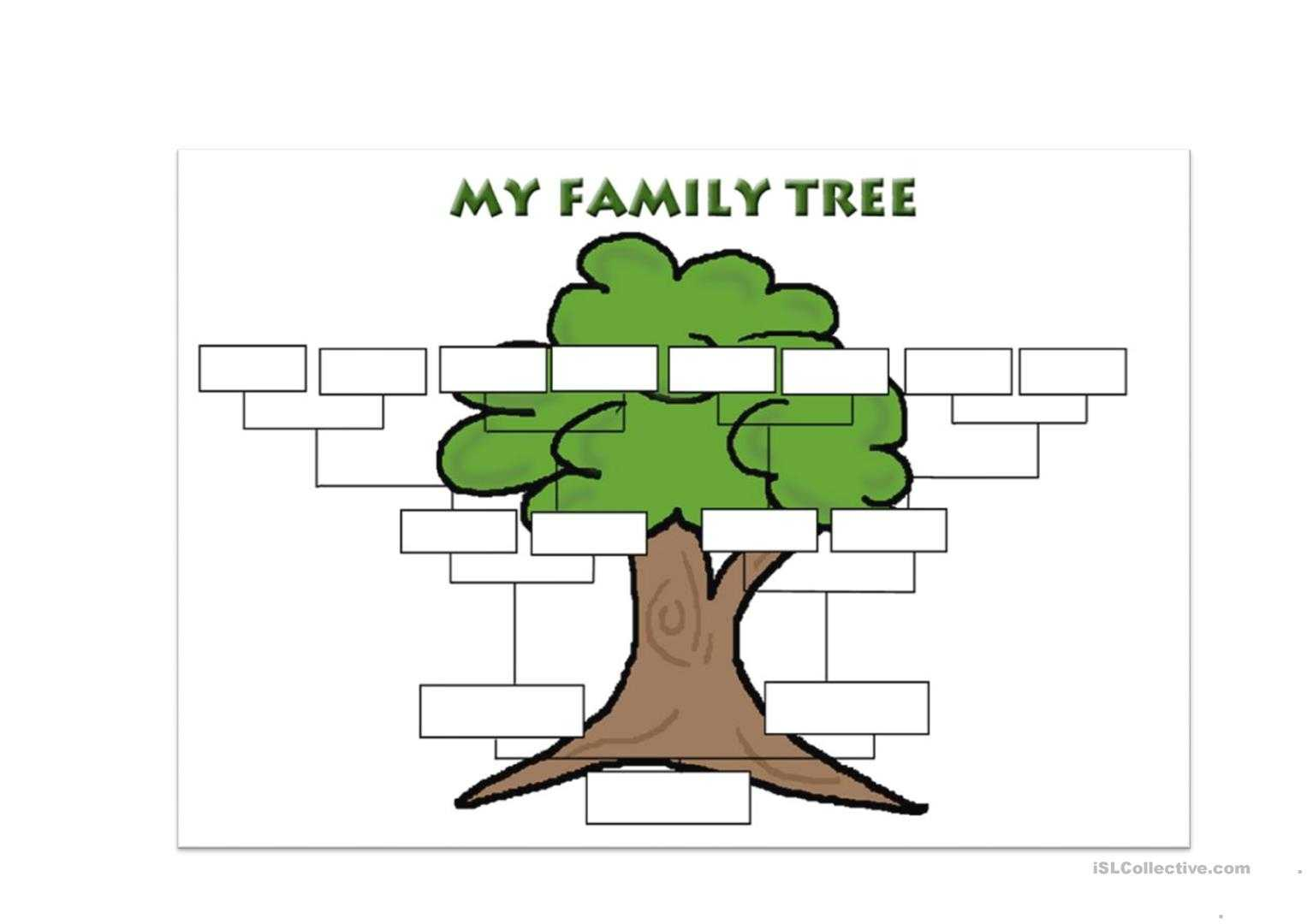 Family Tree Template - English Esl Worksheets Pertaining To Fill In The Blank Family Tree Template