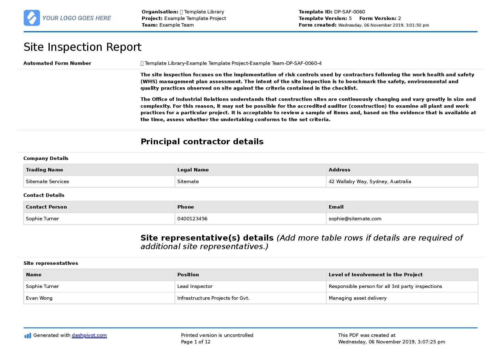 Field Inspection Report Template (Free To Use And Better For Inside Field Report Template