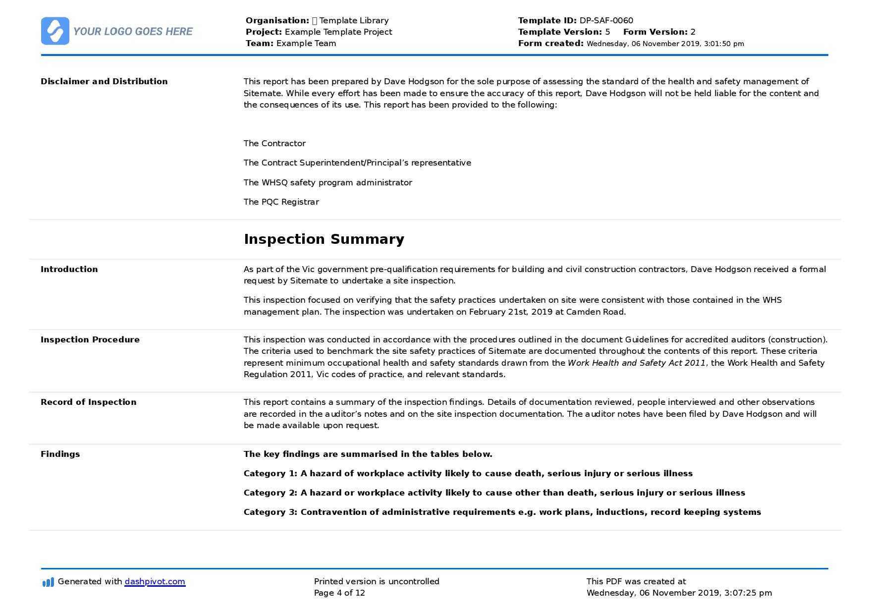 Field Inspection Report Template (Free To Use And Better For Throughout Field Report Template