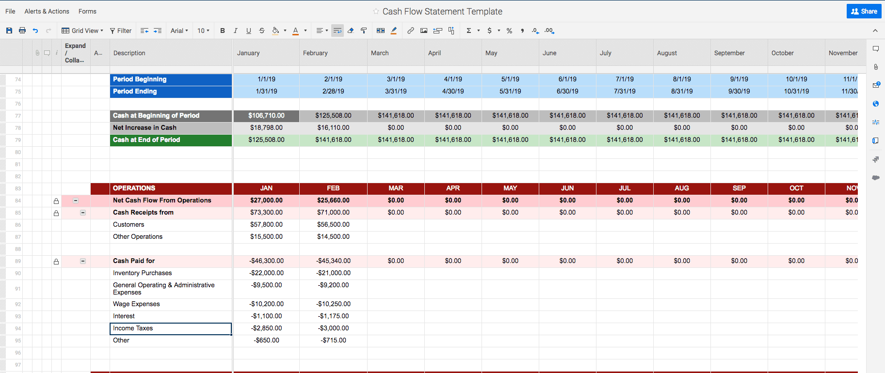 Free Cash Flow Statement Templates | Smartsheet With Regard To Liquidity Report Template
