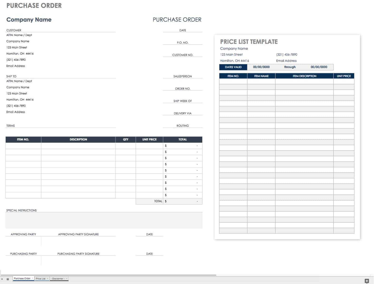 Free Purchase Order Templates   Smartsheet Throughout Blank Money Order Template