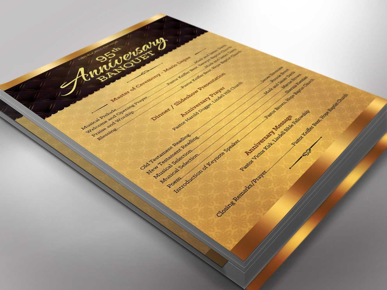 Golden Church Anniversary Program One Sheet Word Template Pertaining To Church Program Templates Word