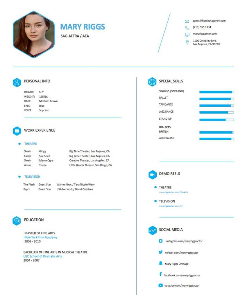 How To Make An Actor Resume For Theatre And Performing Arts Jobs Inside Theatrical Resume Template Word