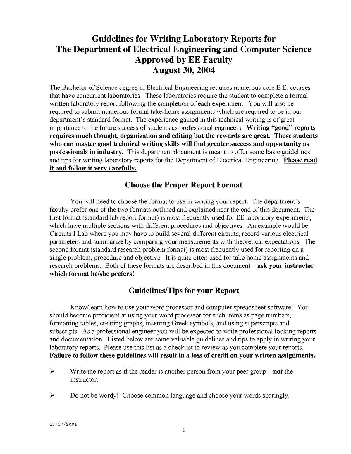 Lab Report Format - Ecte290 - Uow - Studocu With Regard To Engineering Lab Report Template