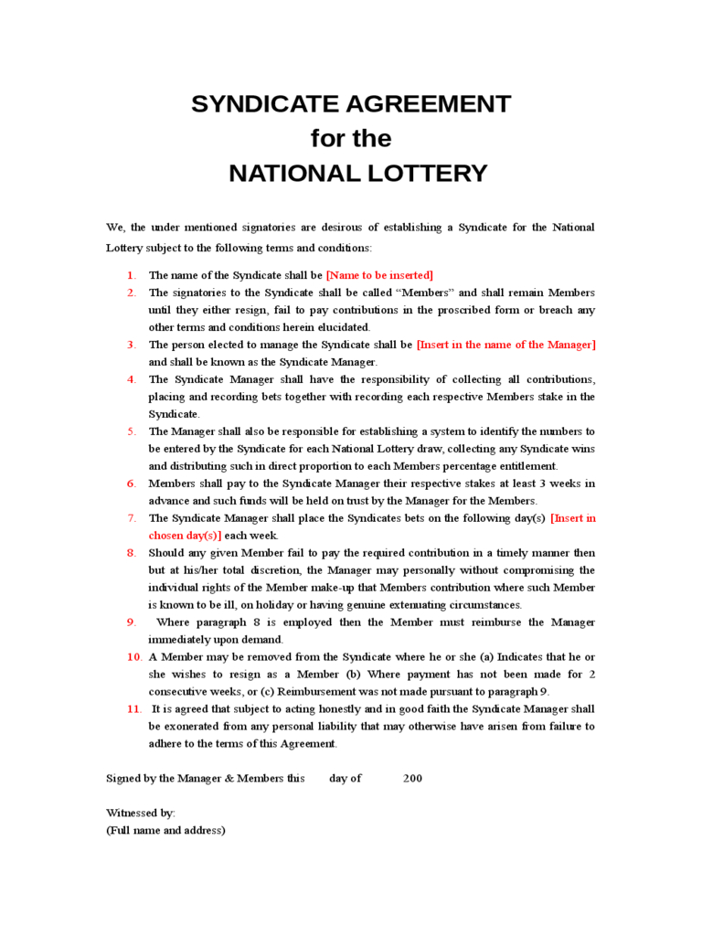 Lottery Syndicate Agreement Form - 6 Free Templates In Pdf With Regard To Lottery Syndicate Agreement Template Word