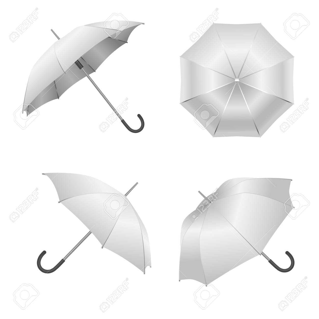 Realistic Detailed 3D White Blank Umbrella Template Mockup Set.. Throughout Blank Umbrella Template