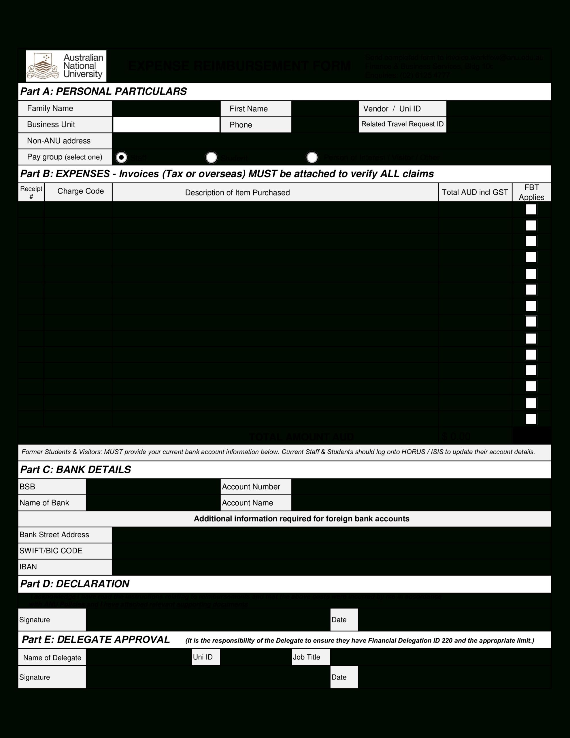 Reimbursement Form Template - Zohre.horizonconsulting.co For Reimbursement Form Template Word