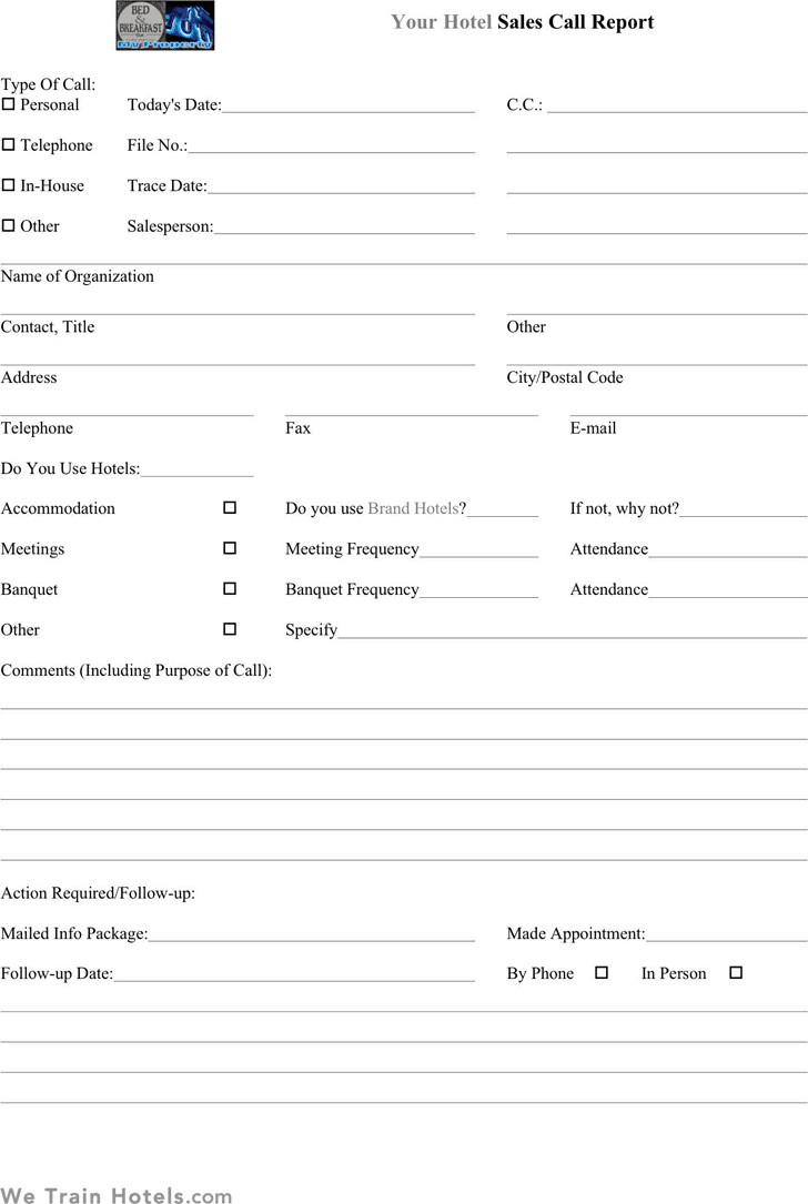 Sales Call Report Templates - Word Excel Fomats in Sales Call Reports Templates Free