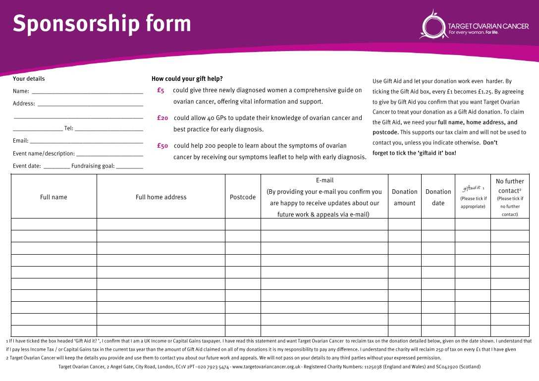 Sponsorship Sheet Template. While We 39 Re Livin In A Box We Intended For Blank Sponsorship Form Template