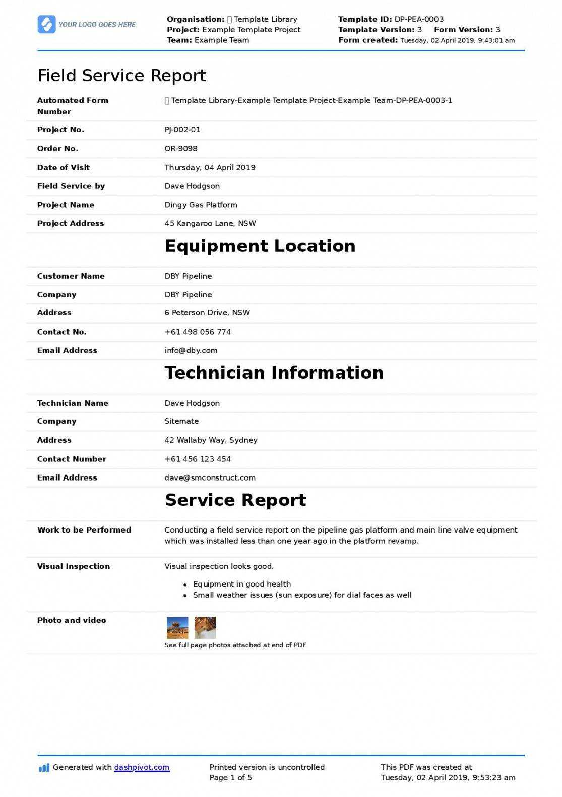 Technical Service Report Template in Field Report Template