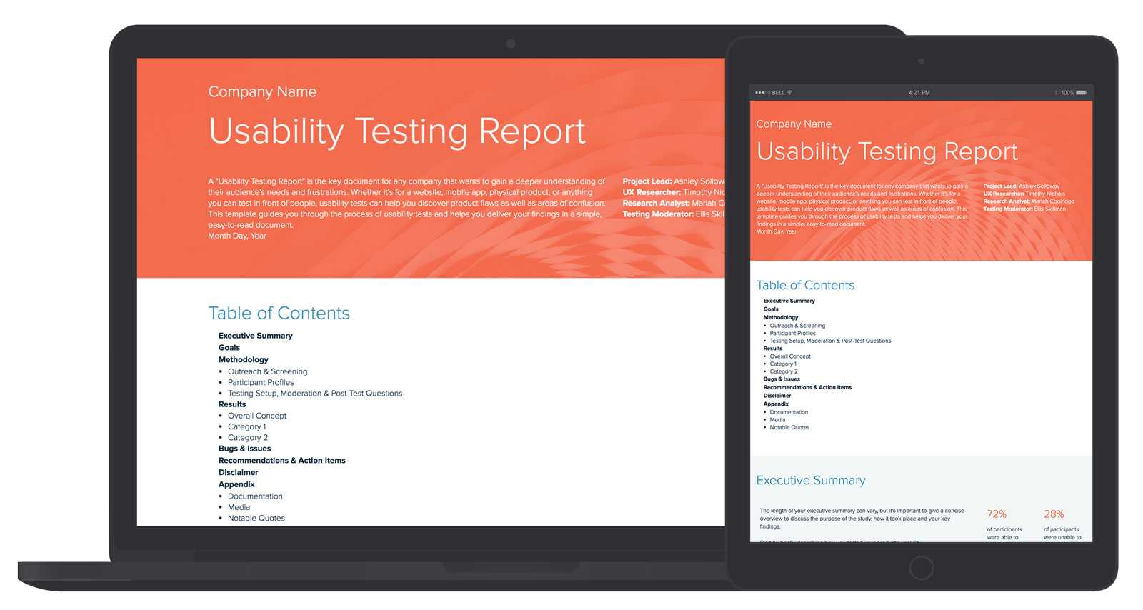 Usability Testing Report Template And Examples   Xtensio Inside Ux Report Template