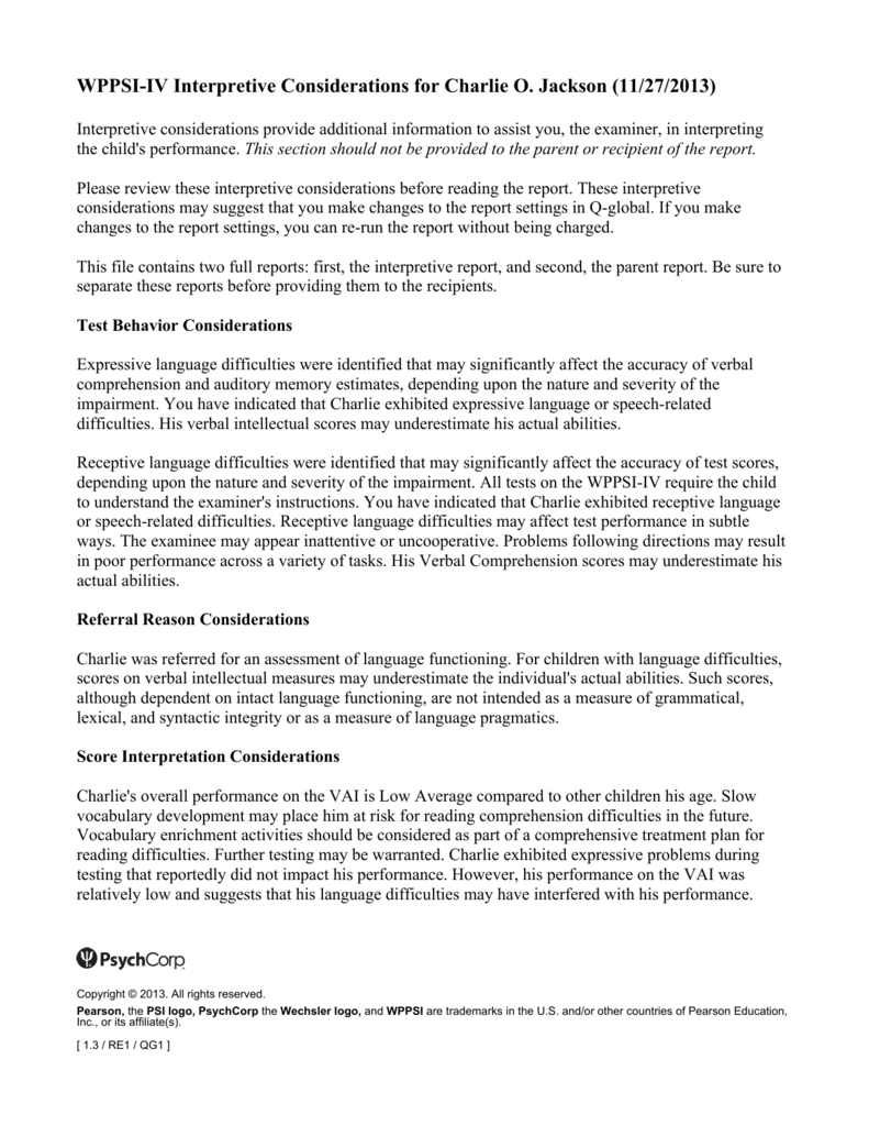 Wppsi Iv Interpretive Report Sample Throughout Wppsi Iv Report Template