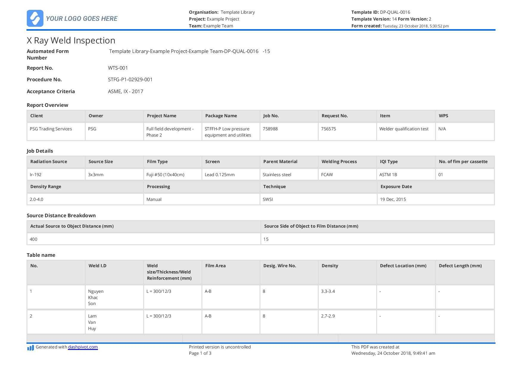 X Ray Weld Inpsection Template - Use And Customise For Free With Regard To Welding Inspection Report Template