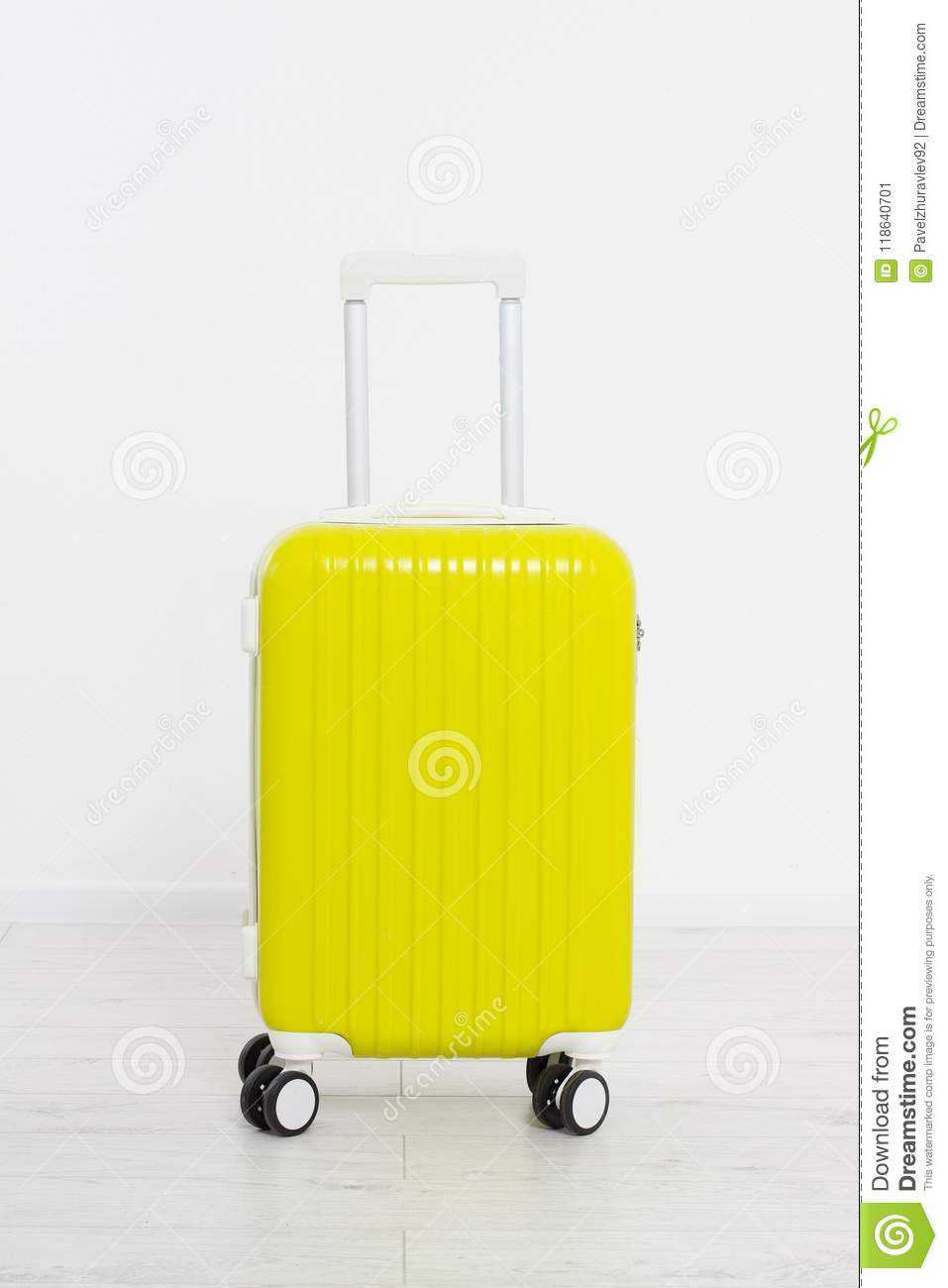 Yellow Suitcase On White Background .summer Holidays. Travel Inside Blank Suitcase Template